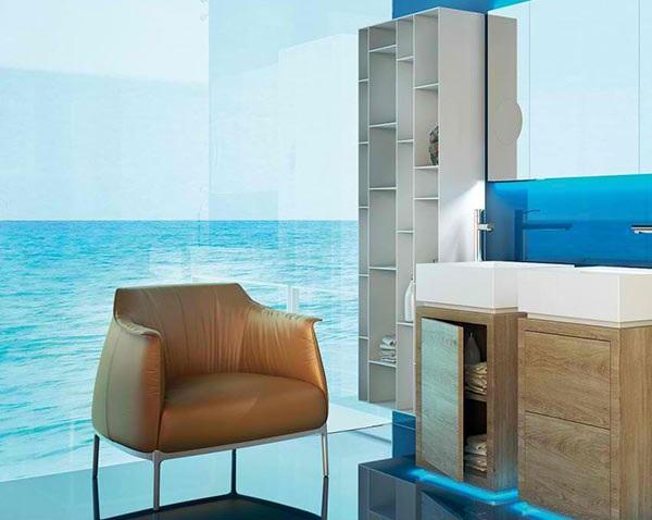 modernes badezimmer möbel polstersessel glaswände meerblick moma design