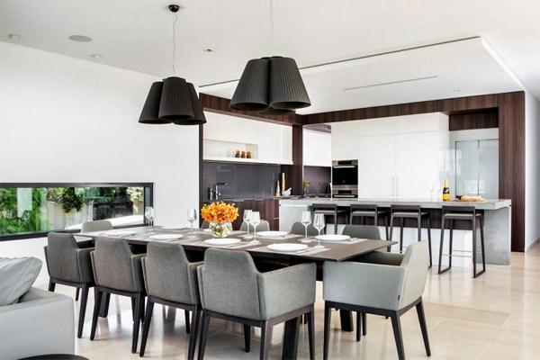 Modernes Haus Australien Residenz Wohnzimmer Esstisch