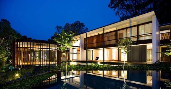 modernes haus k2ld nachhaltige architektur gartenbeuchtung ideen