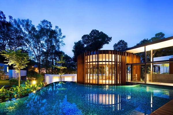 modernes haus nachhaltige architektur gartenbeuchtung ideen gartenpool terrasse