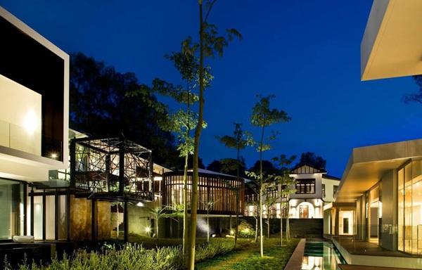 modernes haus screen haus singapur außenbereich nachhaltige architektur gartenbeleuchtung