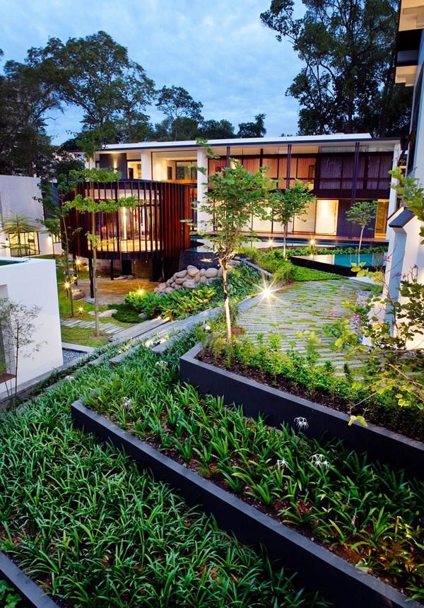 modernes haus singapur nachhaltige architektur gartengestaltung ideen gartenbeleuchtung