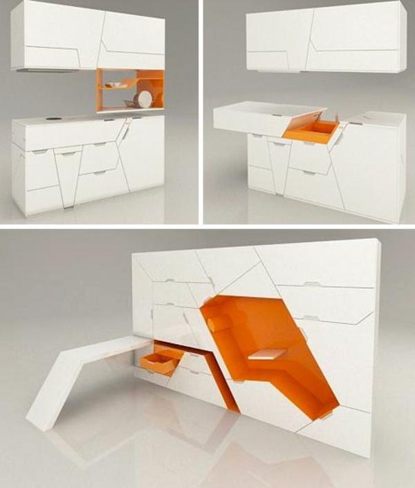 modul küchenmöbel designideen küche weiß orange
