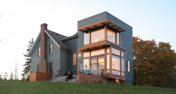 Nachhaltige Architektur Architektenhaus Holz Stein Vorgartengestaltung Moderne