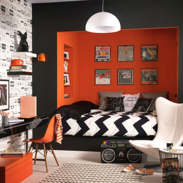 orange rock roll schlafzimmer chavron