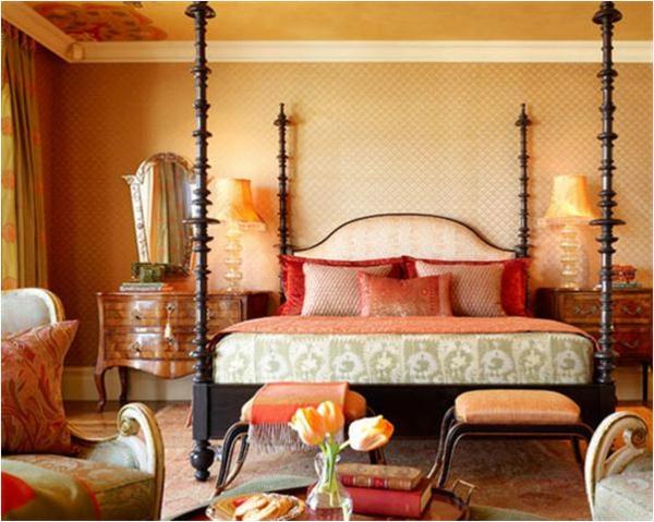 design schlafzimmer dekoratives bett anrichte sitzecke