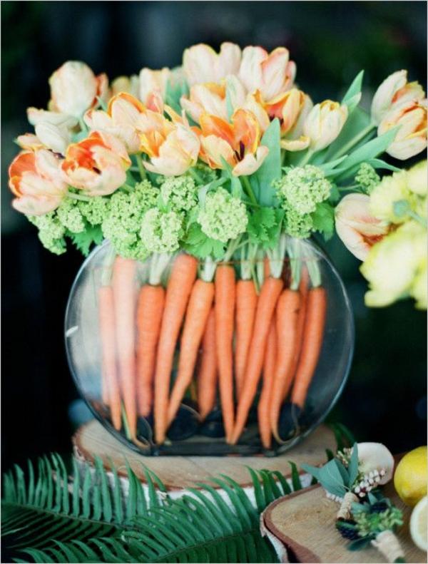 osterdeko selbst basteln ostergestecke tulpen möhren