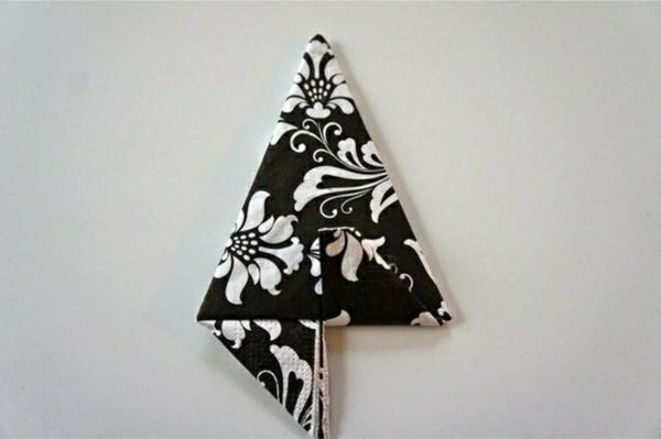 papierservietten falten anleitung tischdeko ideen dekoartikel schwarz weiß