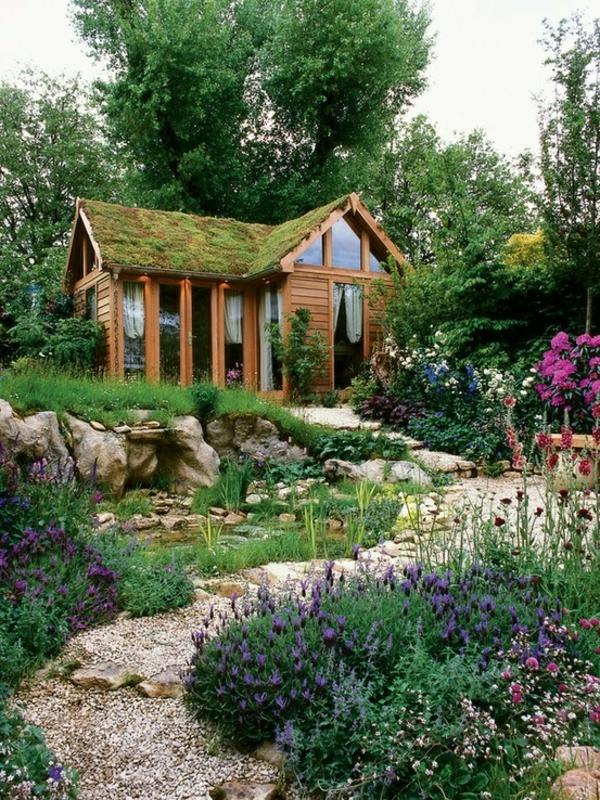 design dachbegrünung gartenhaus exterior ideen