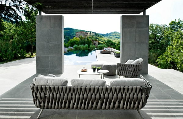 patio lounge möbel outdoor modernes sofa grau