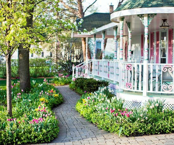 patio vorgartengestaltung ideen blumengarten