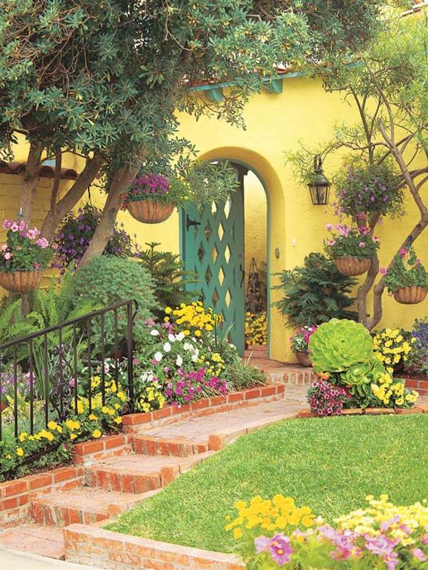 vorgartengestaltung ideen gelbes haus grüner eingang