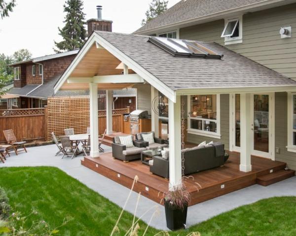 patio vorgartengestaltung ideen holzterrasse