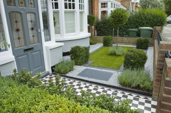 Vorgartengestaltung Ideen Kleiner Garten Schachbrett Bodenbelag Good Looking