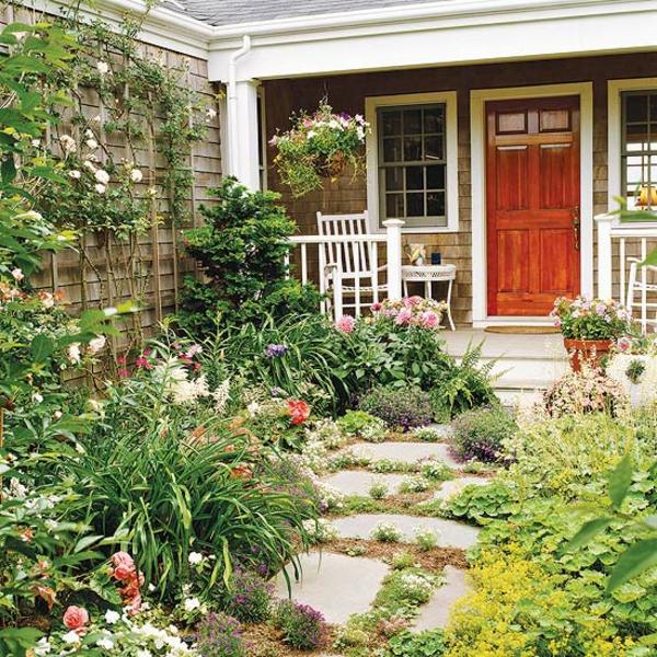 vorgartengestaltung ideen steinpfad pflanzen