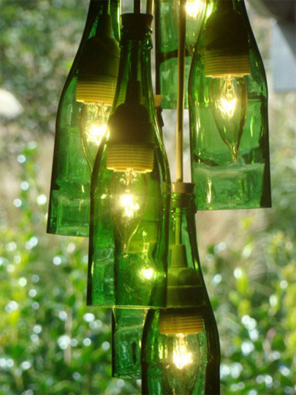 pendelleuchten diy lampe weinflasche dekoideen