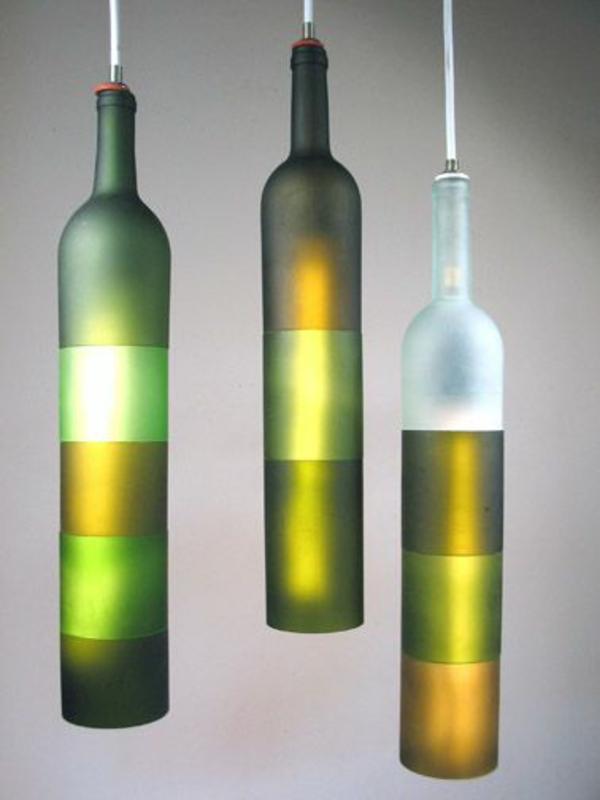 pendelleuchten diy lampe aus weinflasche dekoration
