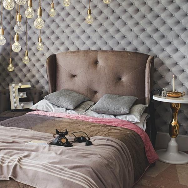 pink schlafzimmer braun töne kopfteil polsterung
