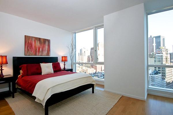 romantisches schlafzimmer dekoideen rot weiß