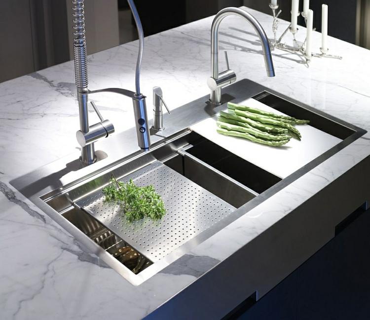 rostfreier edelstahl küchenarmatur moderne küche wasserhahn doppelspüle kücheninsel arbeitsplatte marmor