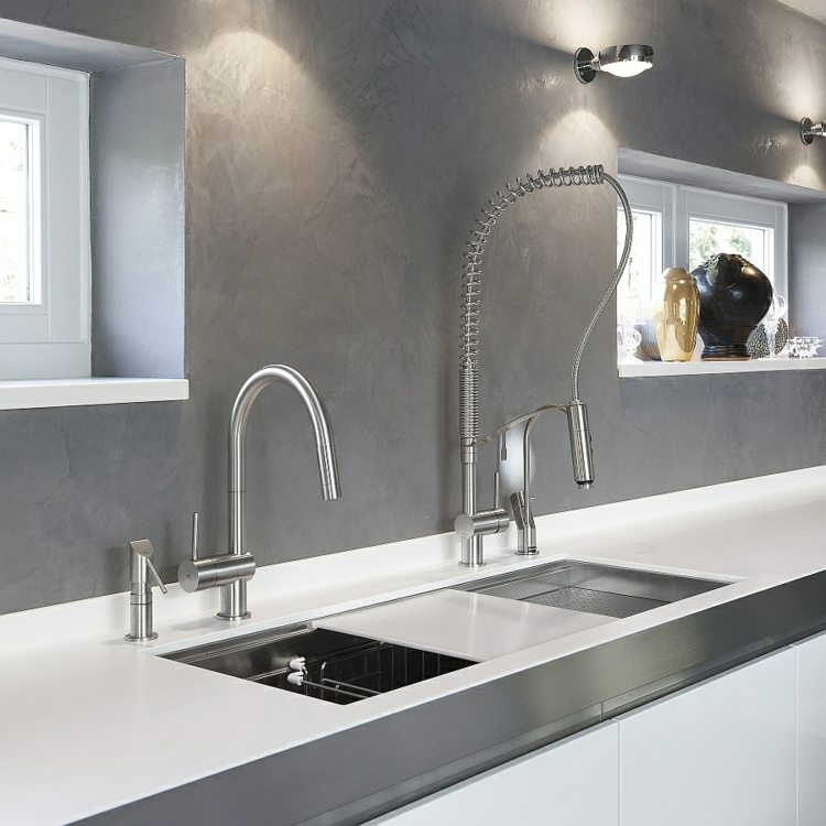 rostfreier edelstahl küchenarmatur moderne küche wasserhahn doppelspüle