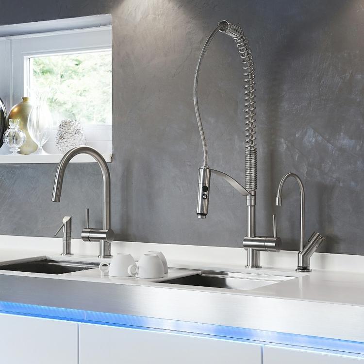 rostfreier edelstahl küchenarmatur wasserhahn doppelspüle arbeitsplatte