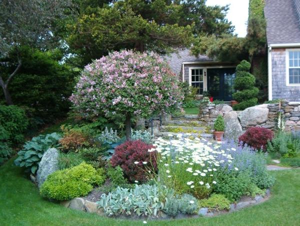vorgarten gestalten dkorative ecke verschiedene blumensorten