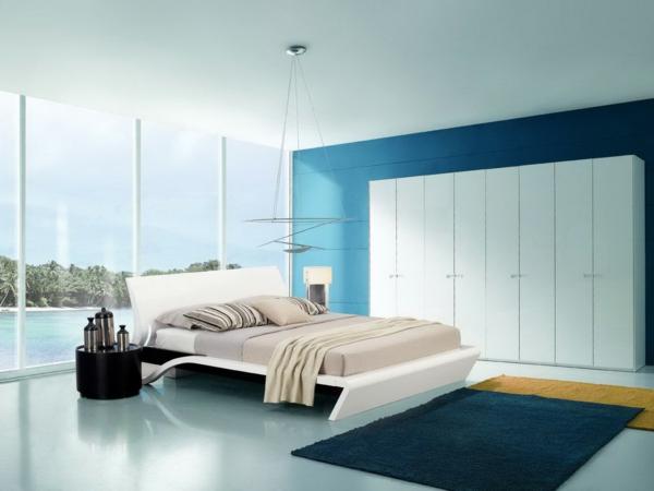 schlafzimmer einrichten deko ideen blau begehbarer kleiderschrank