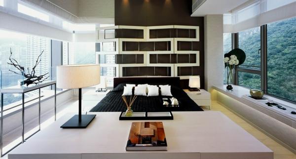 schlafzimmer einrichten deko ideen glaswand bodenlampe