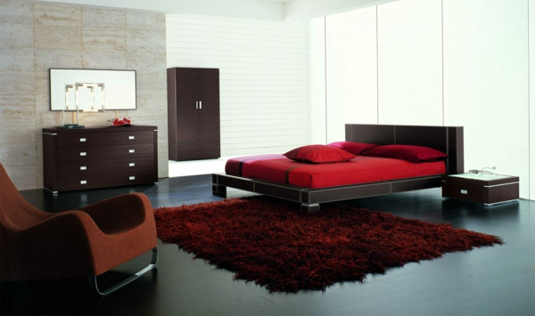 schlafzimmer einrichten deko ideen schlafzimmergestaltung schwarz rot