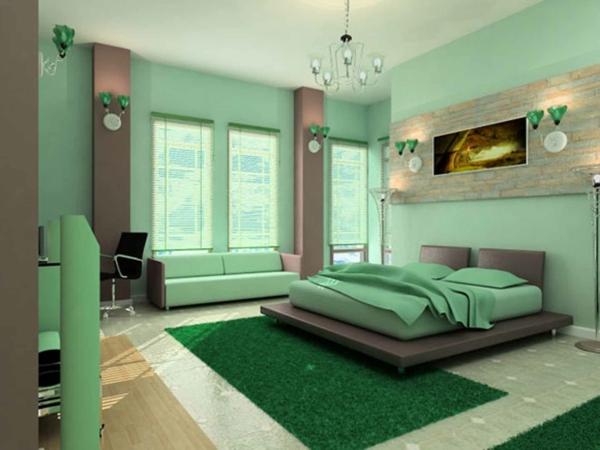 schlafzimmer einrichten deko ideen schlafzimmergestaltung wand grün