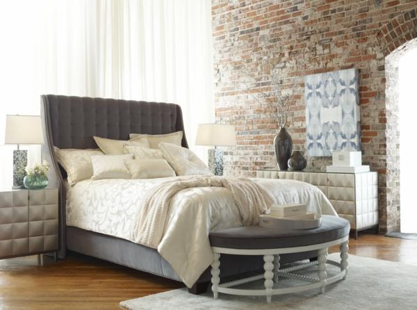 schlafzimmer einrichten deko ideen schlafzimmergestaltung ziegel
