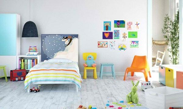 schlafzimmer einrichtungsideen bettkopfteil kreative wandgestaltung kinderzimmer farbgestaltung