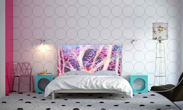 schlafzimmer einrichtungsideen bettkopfteil pünktchenmuster