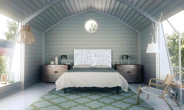 schlafzimmer einrichtungsideen bettkopfteil teppichboden wandpaneele