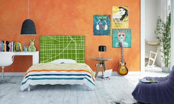 schlafzimmer einrichtungsideen bettkopfteil wandfarbe orange wanddeko ideen