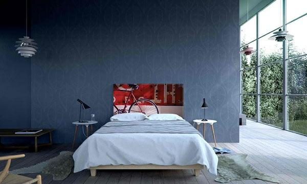 schlafzimmer einrichtungsideen bettkopfteil wandtapeten holzboden bettvorleger