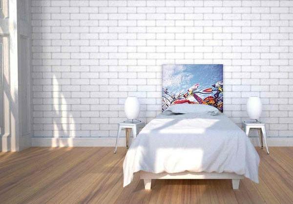 schlafzimmer einrichtungsideen bettkopfteil ziegelwand farbideen
