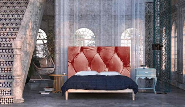 schlafzimmer einrichtungsideen im orientalischen stil bettkopfteil vorhänge polsterbett