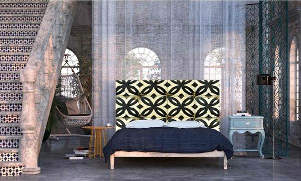 schlafzimmer einrichtungsideen im orientalischen stil bettkopfteil vorhänge