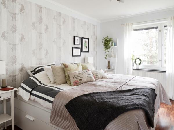 schlafzimmer einrichtungsideen skandinavischer stil wandtapete