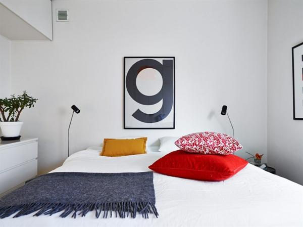 schlafzimmer einrichtungsideen skandinavisches design wandgestaltung ideen dekokissen