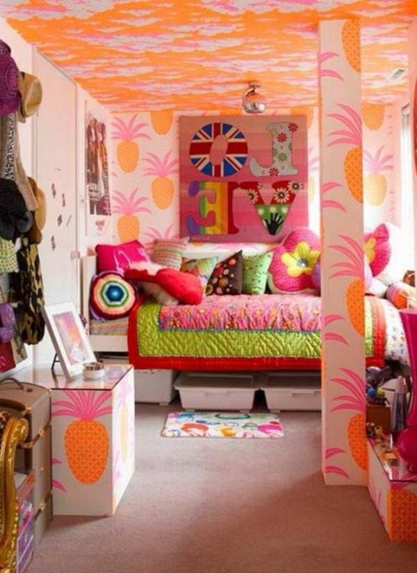 schlafzimmer farben bunte wnde motive