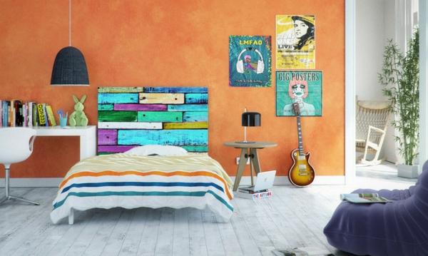 schlafzimmer gestalten farbiges bett kopfteil