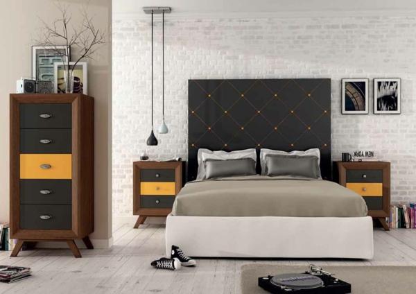 schlafzimmer gestalten kopfteil gepolstert weiße ziegelwand kommode nachtkonsolen moderne pendelleuchten munozmuebles.net