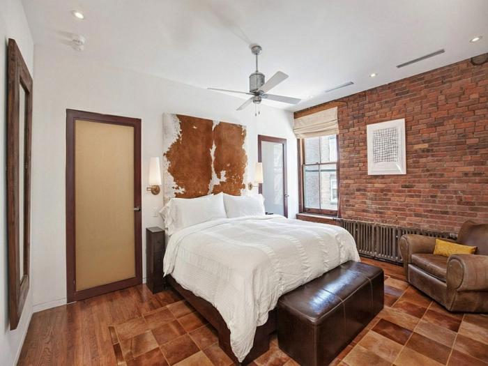 schlafzimmer gestalten moderne inneneinrichtung rustikal ziegelwand leder new york stadtwohnung