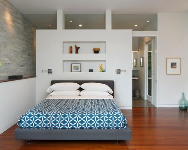 schlafzimmer einrichtungsideen bett wandgestaltung