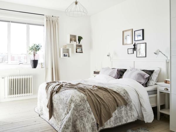 Schlafzimmer Ideen Skandinavischer Stil Bett Wandgestaltung Farbgestaltung