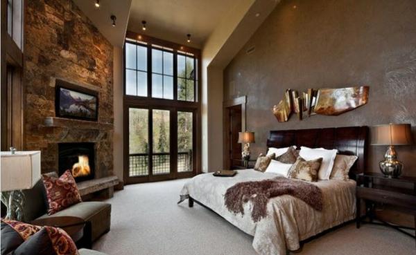 Schlafzimmer ideen im traditionellen stil 15 beispiele - Wandfarbe kamin ...