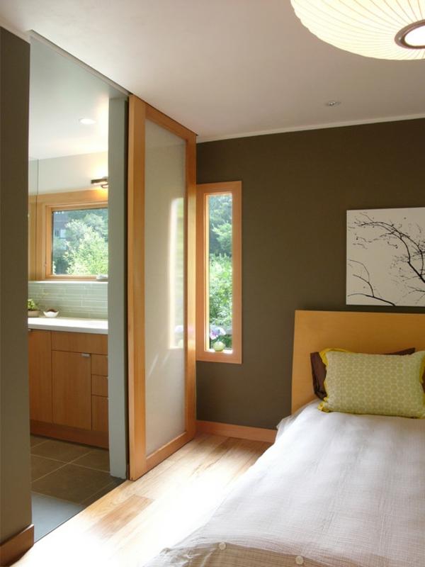 schlafzimmer ideen zeitgenössisch schiebetür wanddeko
